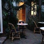 Hotel garden sitting area