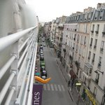 View of Rue Didot from the hotel room balcony.