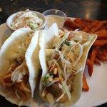 Joey's Seafood Fish Taco w/Sweet Potato Fries & Honey Lime Dip