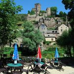 The view from the gift shop at Chez Annas' cafe in Belcastel
