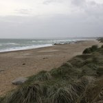 Beach to ourselves on a chilly, windy evening - view toward Bournemouth.