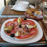 Freshly made Tomato Salad with anchovies and eggs. Yum!