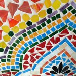 Brightly colored mosaic tabletops