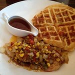 Spicy Corn Waffle with Cajun Shrimp