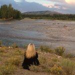 Sunset on Snake River adjacent to ranch