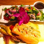 Nova Scotian Sea Trout in fresh lime beurre blanc with fire-roasted vegetables and garden salad