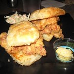 Melt in your mouth chicken biscuits with peach butter