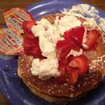 Stack of pancakes with strawberrys!
