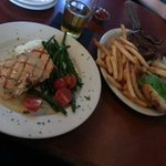 Grilled Salmon and BBQ Burger