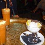 Carrot juice& Ice cream and Faloodeh 'persian ice cream'