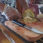 cutting a banana flower for the curry