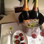 Complimentary champagne and strawberries