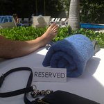 Reserved day bed at the Sunset Pool