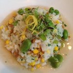 Fava bean and corn risotto