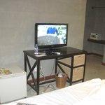 mini fridge,flatscreen tv, closet area in the far right