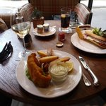 Fish & chips with a glass of Chardonnay