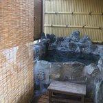 個室露天風呂 温度は蛇口で調節できます