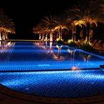 Beautiful swimming pool at night