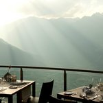 Restaurant Merano with view to the city and Venosta valley