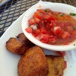 Plantains and fresh salsa - tasty!