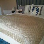 The big comfy bed in Sea Lavender room