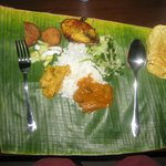 great meal served on banana leaf