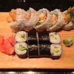 Veg tempura roll and cucumber maki