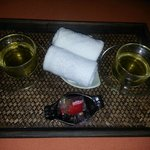 Drink and towel and Sweets!