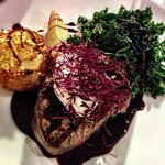 Beef fillet with horseradish sourcream, an almondine potato in a port & red wine sauce
