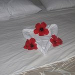 Bed decoration by the cleaning lady