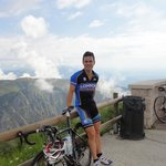 At the peak of Mt Grappa which is a climb close to Villa-Rosa