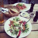 bruschetta and goat cheese salad