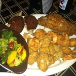 seafood platter with seasonal veggies