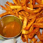 Sweet potato fries with creole maple mustard!