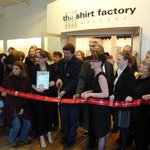 Ribbon cutting to celebrate the opening of The Shirt Factory Gallery in 2012