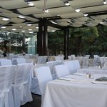 The outside terrace set for gala dinner