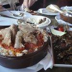 Fatta with moza and Alexandria-style liver