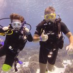 father and son scuba diving
