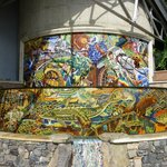 Lovely mosaic fountain around the back of the grounds depicting the history of the Napa Valley.