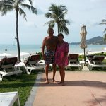 Linda and I early morning poolside with adjoining beach