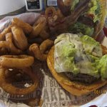 southwest burger with onion rings
