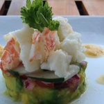 Summer Lobster Stack ,  Poached lobster with sweet corn puree