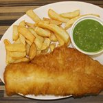 Haddock chips mushy peas tea/ coffee bread and butter £7.20