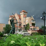 Stormy skies over Hotel Schloss Monchstein, Salzburg