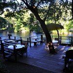 The communal deck overlooking the river