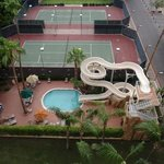 water slide and tennis courts from our room