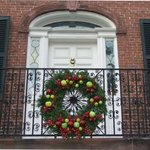 Holiday wreath on the front of the Davenport Museum