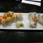 Rainbow Roll (left) and Dynamite Roll (right) with a lot of mayo - not my taste