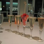 sparkling wine flight, delicious strawberries at the C restaurant