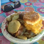Ham, egg & cheese biscuit with breakfast potatoes & coffee